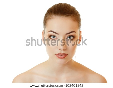 Portrait of beautiful young woman touching lips with her hand. Isolated on white background