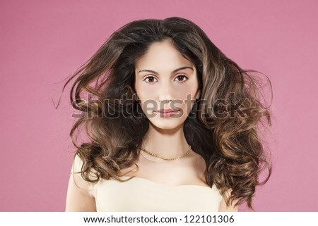 Portrait of beautiful young woman, vintage style. - stock photo