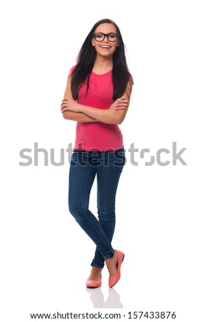 Portrait of beautiful young woman wearing glasses  - stock photo