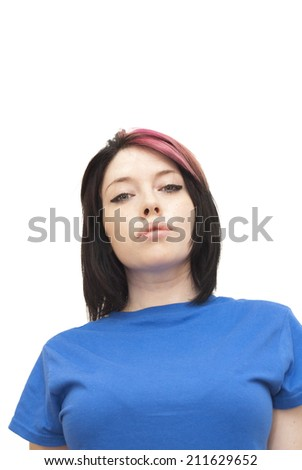 Portrait of Beautiful Young Woman with a red tuft Over White Background