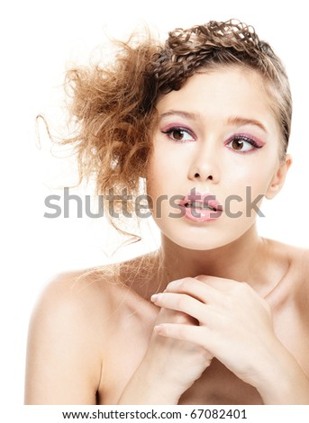 Portrait of beautiful young woman with bared shoulders close up, on white background. - stock photo