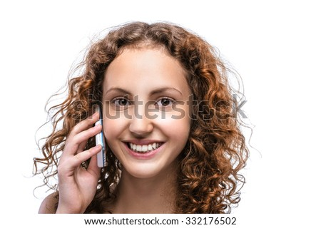 Portrait of beautiful young woman with mobile phone isolated on white background. - stock photo