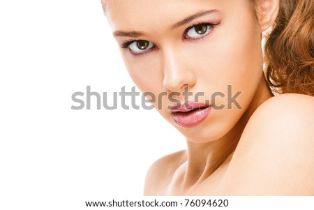 Portrait of beautiful young woman with naked shoulders, on white background. - stock photo
