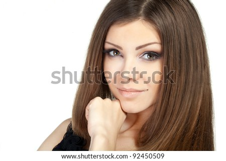 Portrait of beautiful young woman with perfect skin in studio isolated - stock photo