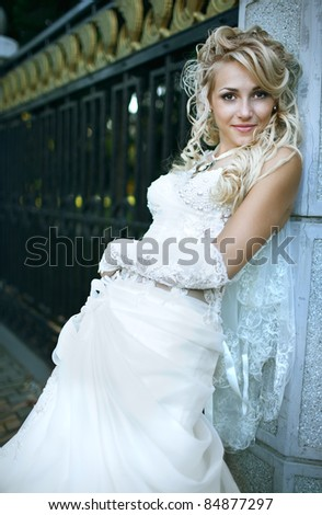 portrait of beauty bride in white dress - stock photo