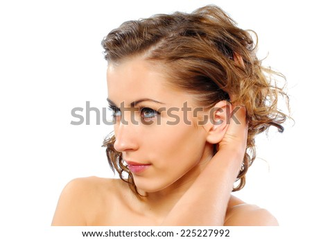 Portrait of beauty model with healthy skin - stock photo