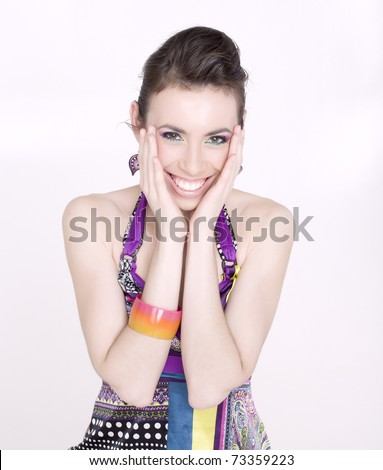 portrait of beauty smiling young woman isolated on white background