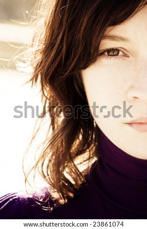 Portrait of beauty with awe reflection in her eye. - stock photo