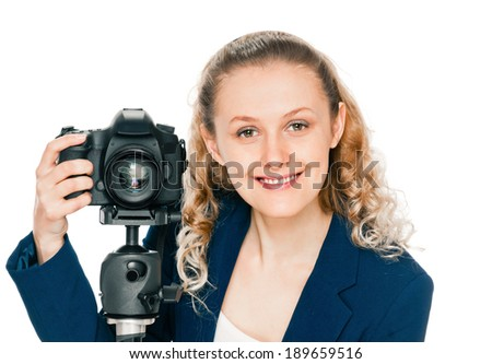 portrait of beauty woman with camera on white