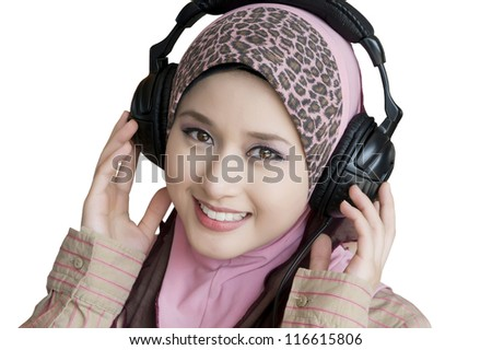 portrait of beauty young woman with headphone - stock photo