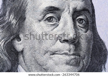 Portrait of Benjamin Franklin, is depicted on the banknote one hundred dollars USA - stock photo