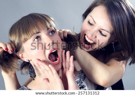 portrait of beutiful happy young women  - stock photo