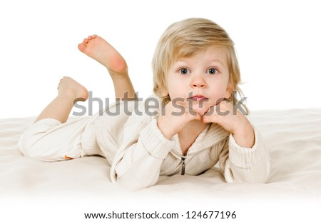 portrait of blond boy three or four years old on white - stock photo
