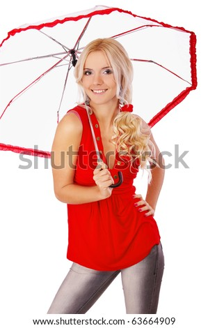 portrait of blond girl with umbrella on white