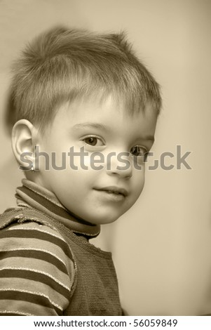 portrait of blond small girl - stock photo