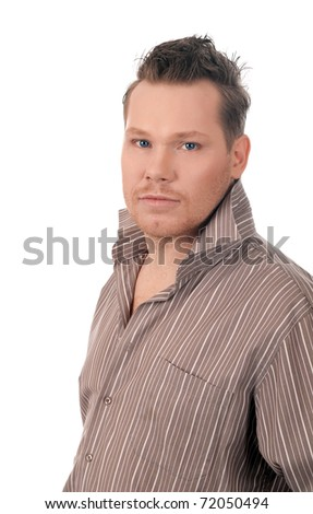 portrait of blonde man in shirt .isolated on white background - stock photo