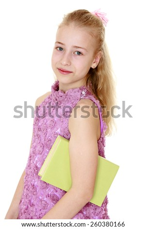 portrait of blonde schoolgirl with a book under his arm - isolated on white. - stock photo