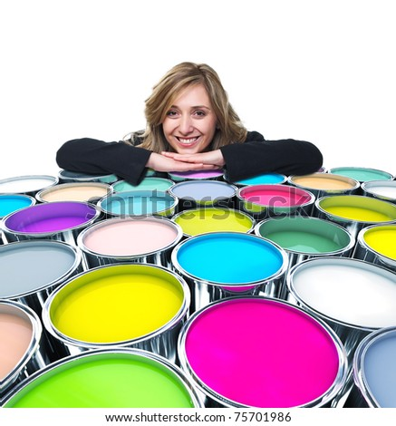 portrait of blonde smiling woman and colorful tank - stock photo