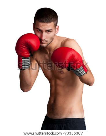 Portrait of boxer isolated on white background - stock photo