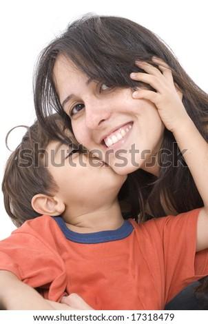 Portrait of Boy Kissing a woman . - stock photo