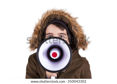 Portrait of boy with megaphone isolated on white