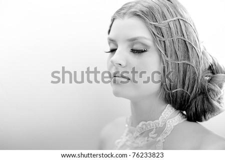 portrait of bride - stock photo