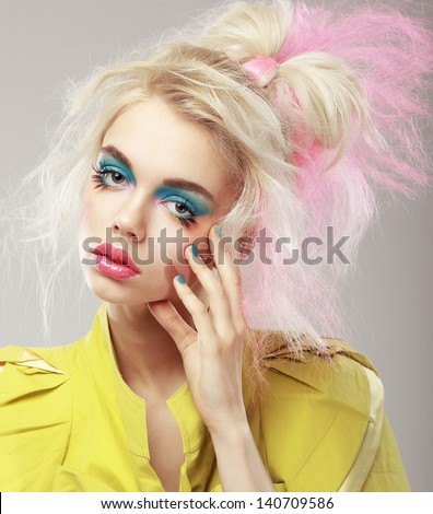 Portrait of Bright Blonde with Shaggy Hair and Blue Eye Makeup. Glam - stock photo