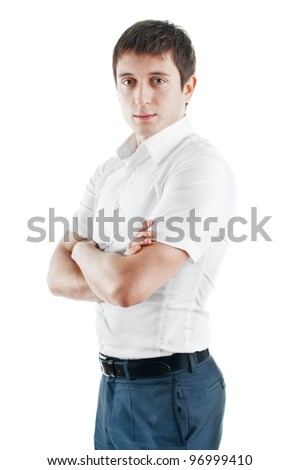 Portrait of business man, isolated on white - stock photo