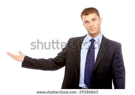 Portrait of business man isolated on white background - stock photo