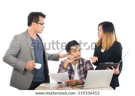 Portrait of business partners discussing documents and ideas at meeting in office isolated on white background.