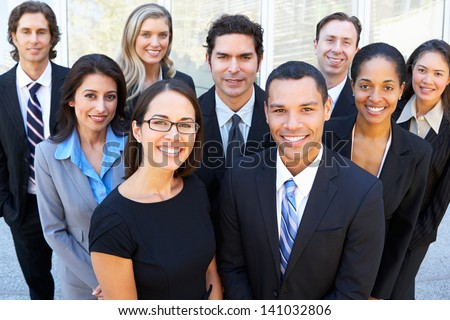 Portrait Of Business Team Outside Office - stock photo
