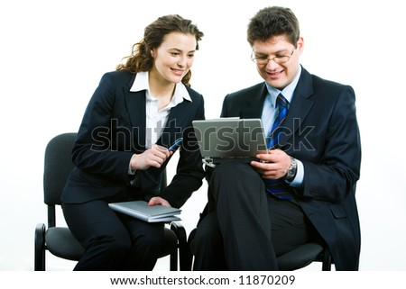 Portrait of business woman and man working together - stock photo