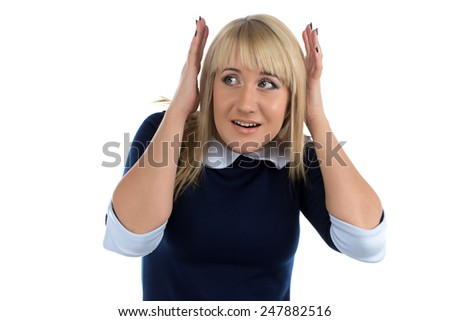 Portrait of business woman covered her ears on white background - stock photo