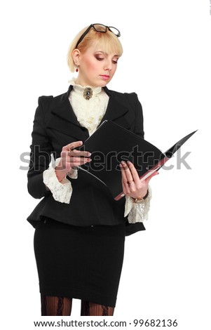 Portrait of business woman, isolated on white background - stock photo