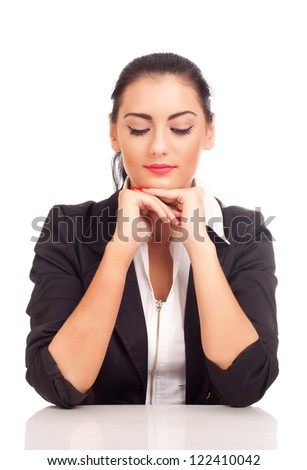Portrait of business woman looking down - stock photo