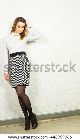 Portrait of business woman or student on white background
