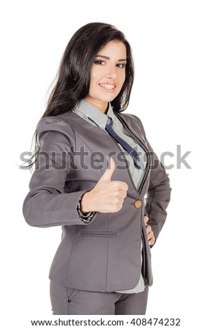 Portrait of business woman showing thumb up hand sign gesture. human emotion expression and lifestyle concept. image on a white studio background. - stock photo