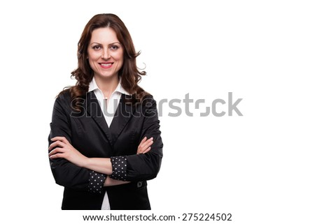 Portrait of business woman smiling. Isolated on white - stock photo