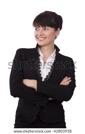 Portrait of business woman with brown hair is looking to the left. Brunette businesswoman dressed in black suit. Isolated over white background.
