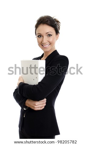 Portrait of business woman with folder. Isolated on white. - stock photo