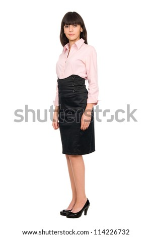 Portrait of business women in full-length, isolated on white background - stock photo