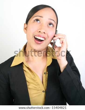 Portrait of business women using cell phone. - stock photo