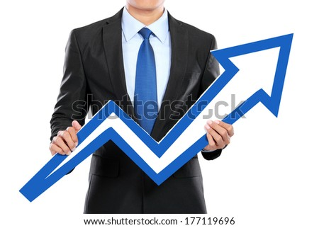 Portrait of businessman holding chart arrow sign isolated over white background - stock photo