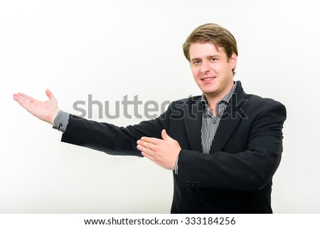 Portrait of businessman presenting