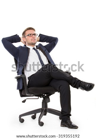 portrait of Businessman thinking while sitting, isolated over white background - stock photo