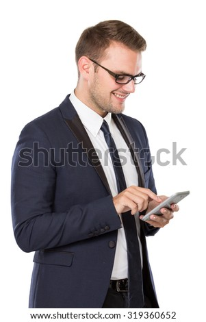 portrait of Businessman using a cellphone, smiling. isolated over white background