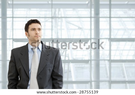 Portrait of businessman wearing grey suit and blue shirt, standing in front of windows in office lobby, looking ahead seriously. - stock photo