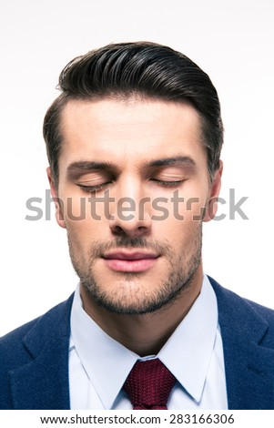 Portrait of businessman with closed eyes isolated on a white background - stock photo