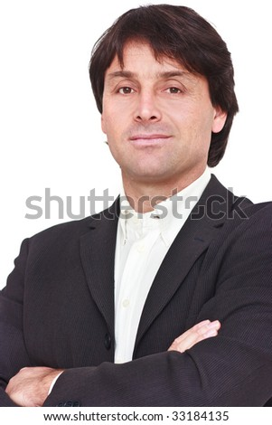 Portrait of businessman with crossed arms isolated on white