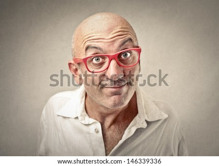 portrait of businessman with expressive face - stock photo